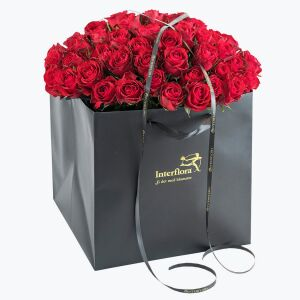 60 Red Roses In A Gift Bag